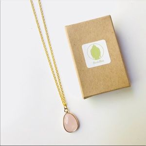 Rose Quartz Teardrop Necklace w/ Gold-Filled Chain
